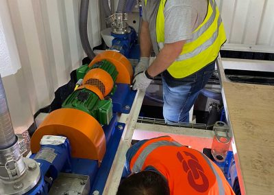 Commissioning of pumps on the grease trap waste consolidation hub